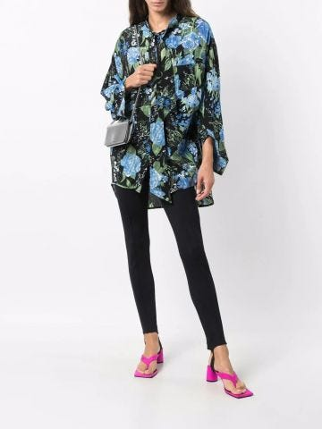 Floral-print Twisted Swing silk blouse