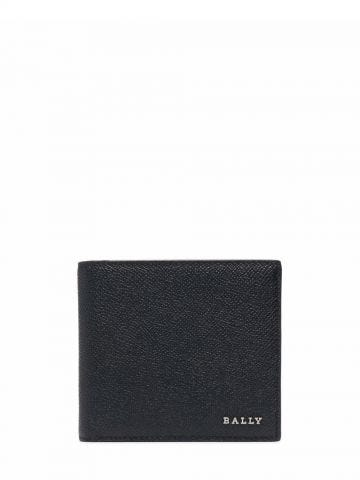 Black wallet with embossed finish logo plaque