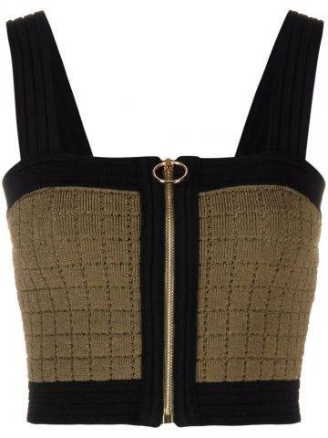 Zip khaki and black knit crop top