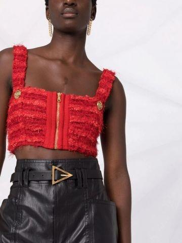 Red tweed sports bra crop top