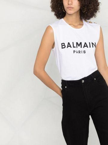 White cotton T-shirt with black Balmain logo print
