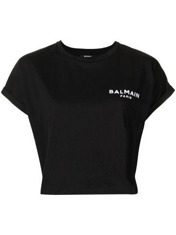 Black logo crop t-shirt