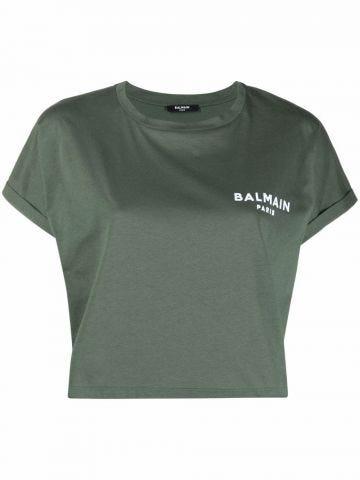 Cropped green cotton T-shirt with white Balmain logo
