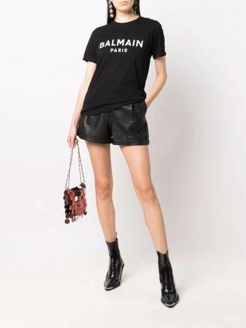 Black cotton T-shirt with white Balmain logo print