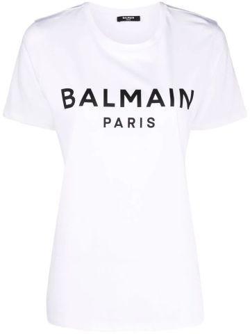 White cotton t-shirt with black logo