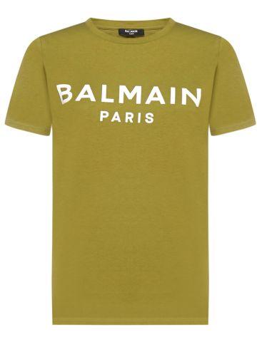 Green cotton T-shirt with white Balmain logo print