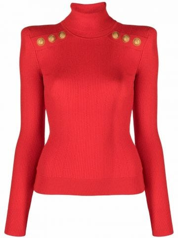 Red knit sweater with gold-tone buttons