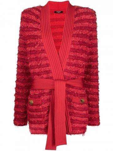 Tweed tie-waist red cardigan