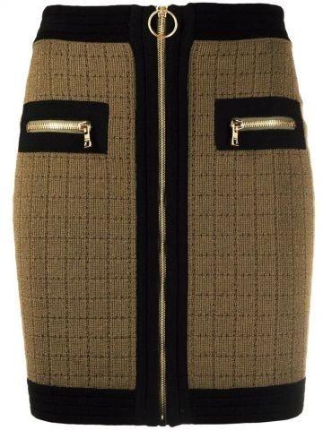 High-waisted khaki and black knit skirt