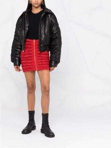 Short red tweed skirt