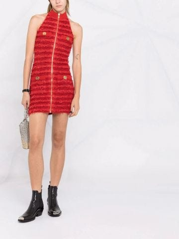 Red tweed dress with golden buttons