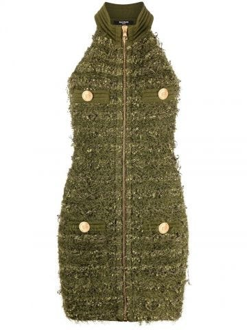 Green tweed dress with golden buttons