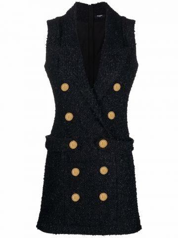 Black double-breasted tuxedo tweed dress