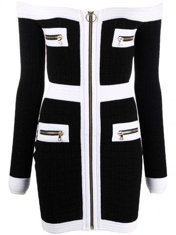 Black and white viscose off-the-shoulder dress