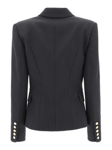 Black double-breasted wool blazer