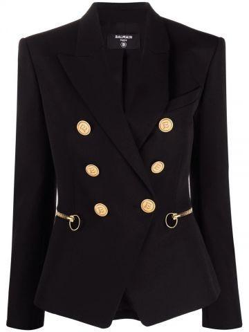Black wool blazer with zip details