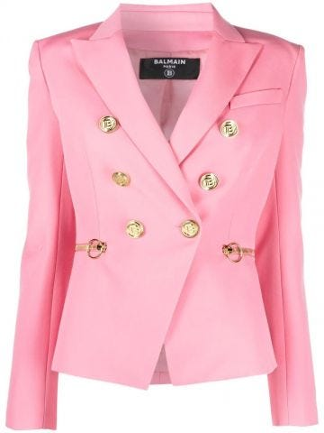 Fuchsia wool blazer with gold-tone double-breasted buttoned fastening