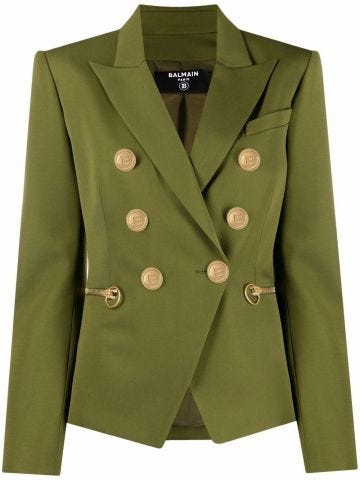 Green gold-tone buttoned ja