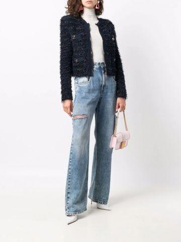 Giacca blu in tweed
