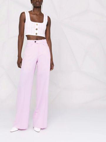 Top in maglia taglio corto pied-de-poule rosa e bianco