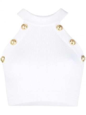 White knit crop top with gold-tone buttons