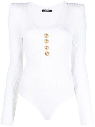 Long-sleeved white knit bodysuit