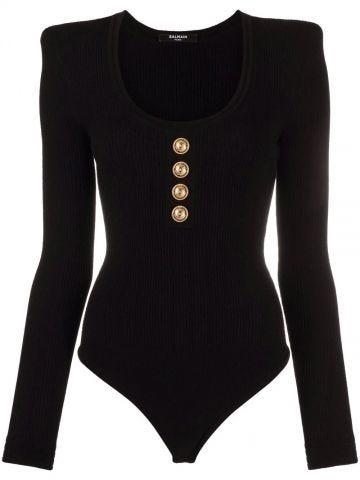 Long-sleeved black knit bodysuit