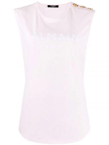 Pale pink cotton T-shirt with white Balmain logo print