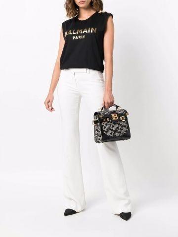 Black cotton T-shirt with gold Balmain logo print