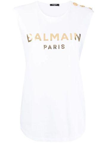 White cotton T-shirt with gold Balmain logo print