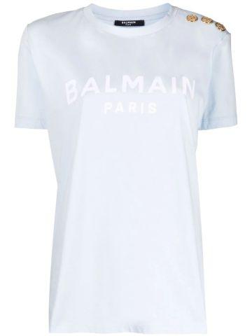 Light blue cotton T-shirt with white Balmain logo print