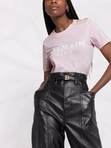 Pink cotton T-shirt with white Balmain logo print
