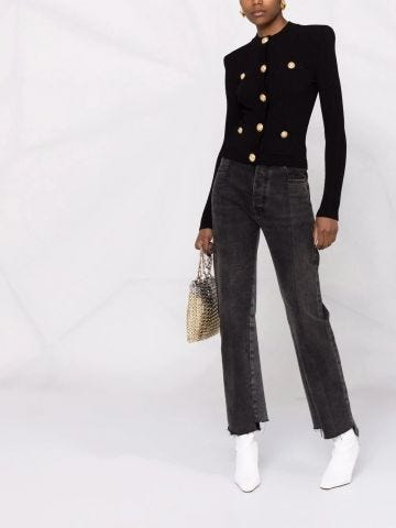 Cropped black knit cardigan with gold-tone buttons