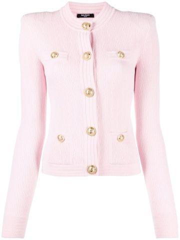 Cardigan taglio corto in maglia rosa chiaro con bottoni dorati