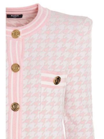 Cardigan pied de poule in velluto rosa