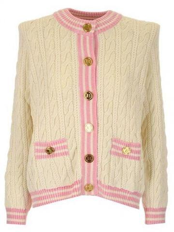 Cardigan in misto lana a trecce bianco avorio con bottoni dorati
