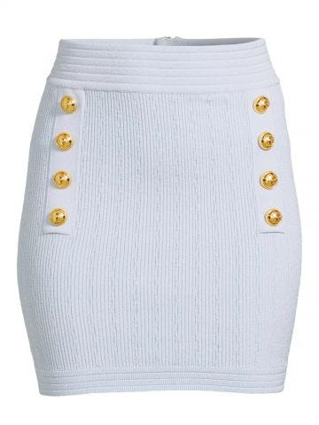 Short blue knit high-waisted skirt with double-buttoned fastening