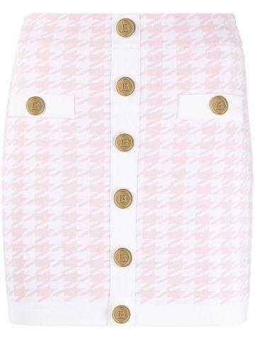 Gonna in maglia pied-de-poule rosa e bianca