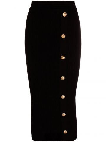 Black high-waisted pencil skirt with gold-tone buttons