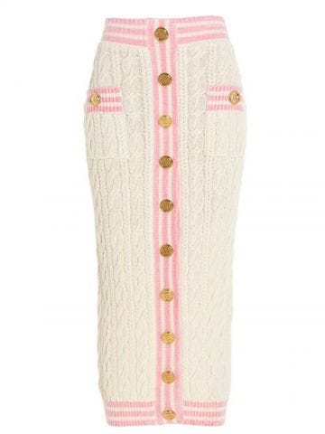 Pink and white midi cable-knit skirt with gold-tone buttons