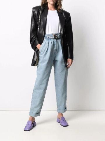 Boyfriend cut light blue jeans with Balmain buckle