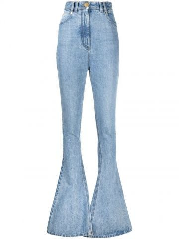 Bootcut light blue jeans with Balmain monogram