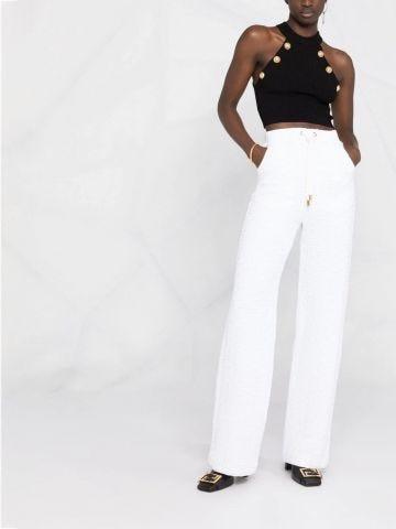 White Balmain monogram track pants