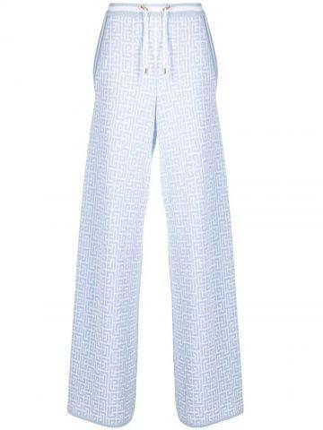 Blue and white palazzo pants with Balmain monogram
