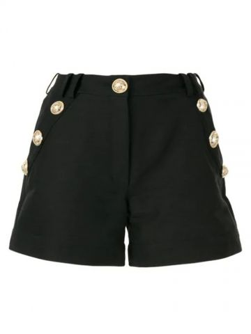 Black cotton low-rise shorts with gold-tone buttons
