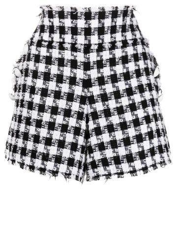 High-waisted white and black tartan tweed shorts