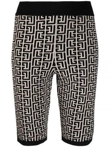 Bicolour jacquard knit shorts with Balmain monogram