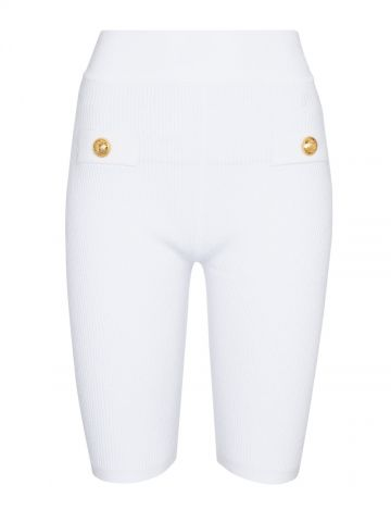 White ribbed cycling-style shorts with gold-tone buttons