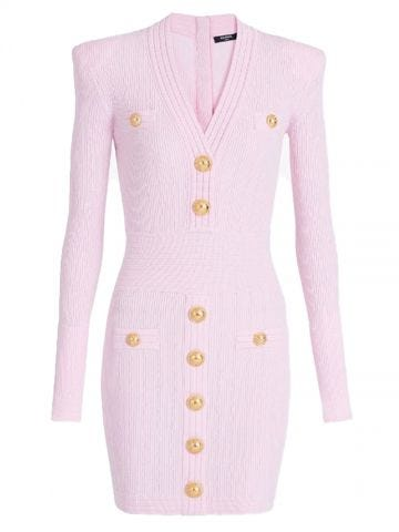 Pink knit dress with gold-tone buttons