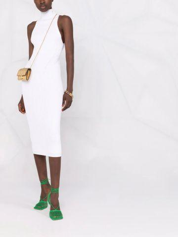 White ribbed midi dress